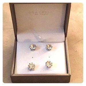 Jewelry - Two pair crystal rhinestone silver studs earrings